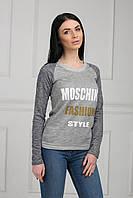 Стильный молодежный свитшот серого цвета с принтом на груди