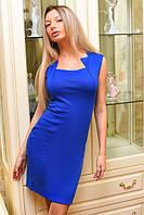 Платье трикотажное с фигурным декольте электрик