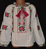Яркая вышиванка для девочек на домотканом полотне с мережкой
