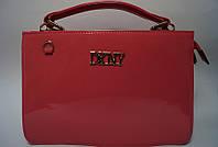 Сумка коралловая лаковая женская DKNY