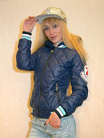 Бомбер женский синий