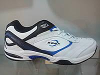 Белые с синим кожаные мужские кроссовки Bona