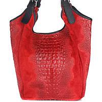 Женская кожаная сумка 17901 красного цвета Италия