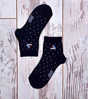 """Детские бамбуковые носочки """"Кораблики"""" для малышей (синие)"""
