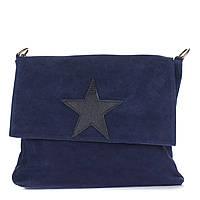 Женская замшевая сумка 8160 темно-синего цвета Италия