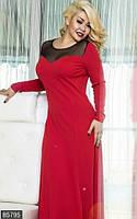 Восхитительное женское платье в пол с разрезом со вставками сетки на груди рукав длинный креп-дайвинг батал