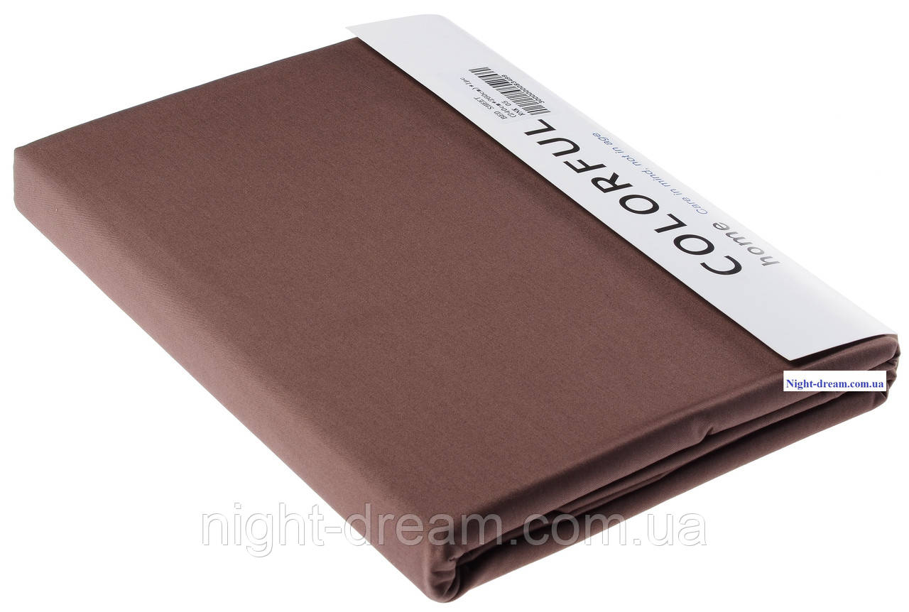 Простынь Arya сатин 240х260 темно-коричневая 05