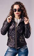 Короткая чёрная куртка из стёганой плащёвки Арт.-5002/46