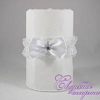 Свадебная подвязка белого цвета