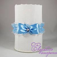 Подвязка для невесты голубого цвета