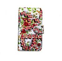 Чехол-книжка для Prestigio MultiPhone Wize E3 3509 Duo Small Flowers Red