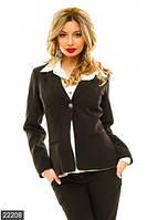 Классический женский пиджак с отложным воротником на одной пуговице рукав длинный костюмный креп