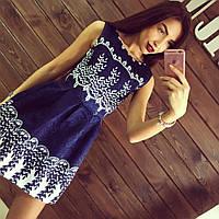 Платье жаккард Синее кружево