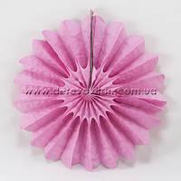 Подвесной веер, светло-розовый, 40 см - бумажный декор-розетка