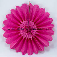 Подвесной веер, малиновый, 30 см - бумажный декор-розетка