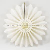 Подвесной веер, молочный, 30 см - бумажный декор-розетка