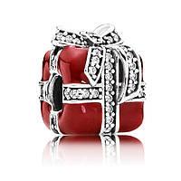 """Бусина для браслета Pandora """"Подарочная коробочка"""" с эмалью красного цвета"""