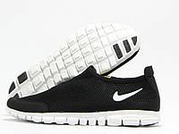 Кроссовки мужские Nike Free 3.0 черные с белой подошвой без шнурков (найк фри)