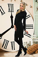 Классическое черное платье с длинным рукавом