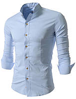 Рубашка мужская Голубая с воротом стойкой