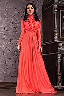 Платье Макси в Пол с Рюшами Коралловое р. 42-46