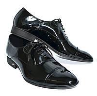 Мужские туфли лаковые классические на шнуровке.