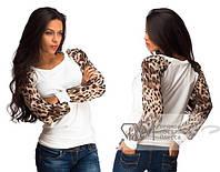 Кофта с леопардовым рукавом