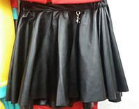 Детская юбка из еко-кожи (черная)