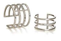 Серебряное кольцо на две фаланги с цирконием, фианитом 33414-33417