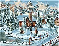 Раскраска по номерам Турбо Зимние каникулы  30 х 40 см