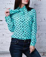 """Шифоновая блузка с длинным рукавом  """"Бант бирюза"""", до 48 размера"""