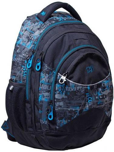 """Стильный практичный подростковый рюкзак 23 л. Т-12 """"Digital"""" YES! 552678 синий"""