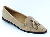 Красивые легкие туфли бежевого цвета с длинным носом!  КАЧЕСТВО СУПЕР!