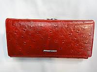 Кошелек женский Cossni, натуральная кожа, красный, под страусинную кожу