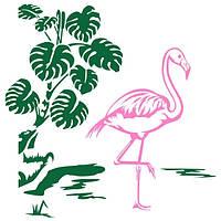 Виниловая Наклейка Glozis на прозрачной основе Flamingo 100х100 см