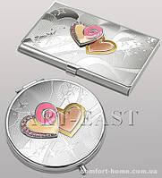 Подарочный набор: зеркало и визитница WIN-67 серебро