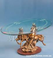 """Журнальный столик """"Кони"""" из полистоуна со стеклянной столешней ALF 09080"""