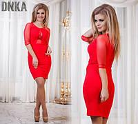 Платье с сеткой на груди красное