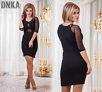 Платье с сеткой на груди черное
