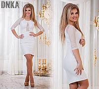 Платье с сеткой на груди белое