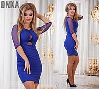 Платье с сеткой на груди синее