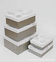 """WB-54 Комплект прямоугольных коробок из 5шт """"Белая вуаль"""""""