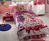 Детское покрывало из ранфорса TAC Disney Barbie Princess Popstar 160x220 см