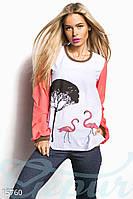 Шифоновая женская блузка прямого силуэта с разрезами по бокам с модным принтом рукав длинный