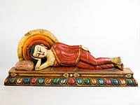 Фигурка Деревянная Резная Панно Будда Возлежащий на троне