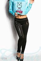 Трендовые женские леггинсы со вставками экокожи и металлической фурнитуры дайвинг