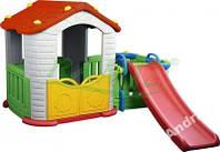 Большой дом для детей с тамбуром и горкой Lodz