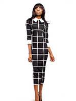 Платье Классического Кроя Миди с Рукавом 3/4 с Принтом от  Fendy  Черное S-XL
