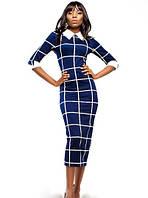 Платье Классического Кроя Миди с Рукавом 3/4 с Принтом от  Fendy  Темно-Синее S-XL