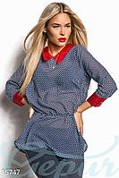 Комбинированная женская блузка в горошек с резинкой на поясе с атласными воротником и манжетами шифон